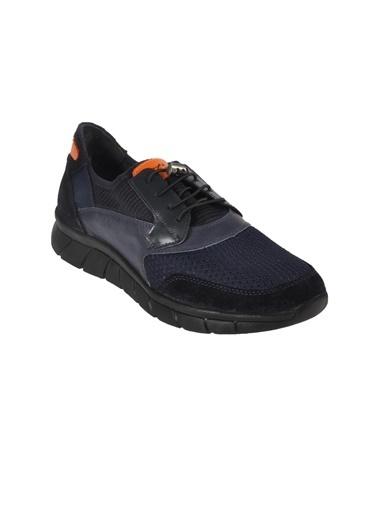 Luciano Bellini 11552736 yuvarlak burun bez detaylı dikişli bağcıklı detay erkek sneakers Siyah